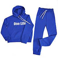 Спортивный костюм детский синий на флисе на девочку-подростка рост 134-176
