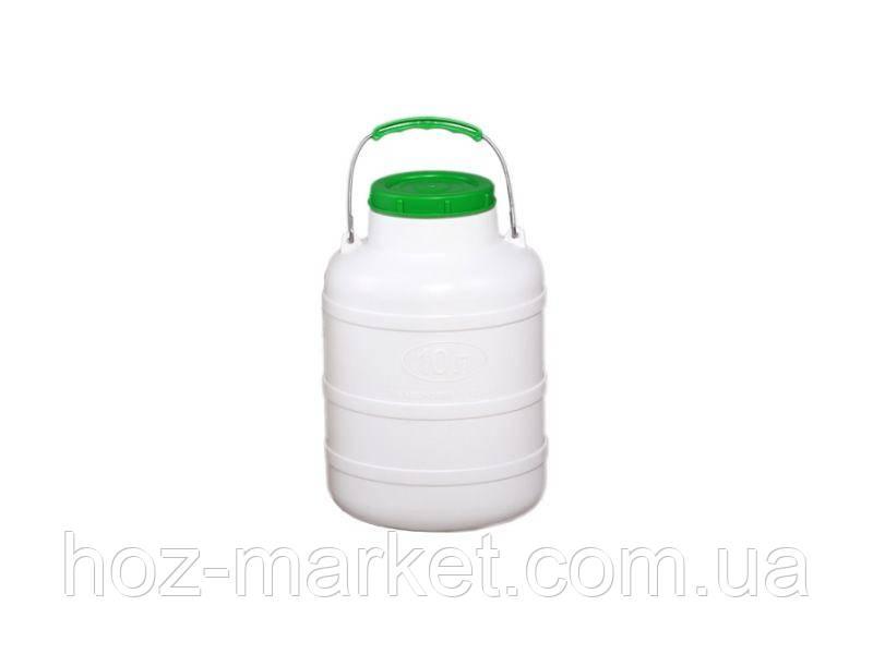 Фляга пластмассовая пищевая 10л, горловина 104мм с уплотнительным кольцом