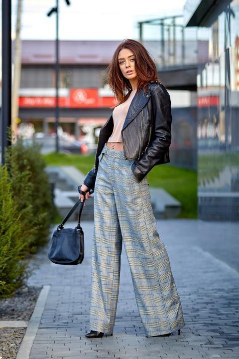 Модные брюки-кюлот в клетку (Код BR-424)