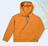 Толстовка худи детская оранжевая на флисе на девочку-подростка рост 134-176