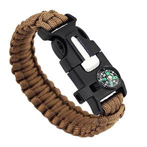 Паракордовый браслет для выживания с огнивом свистком компасом. EDC браслет из паракорда песочный