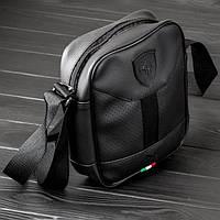 Мужская сумка через плечо Puma Ferrari, месенджер Пума, барсетка, цвет черный