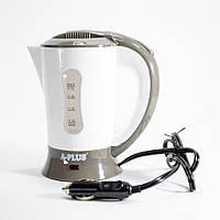 Автомобильный чайник от прикуривателя в авто А-плюс ЕК-1518 Белый электрочайник 12 вольт в машину, фото 1
