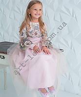 Вишита сукня  для дівчинки королівський атлас
