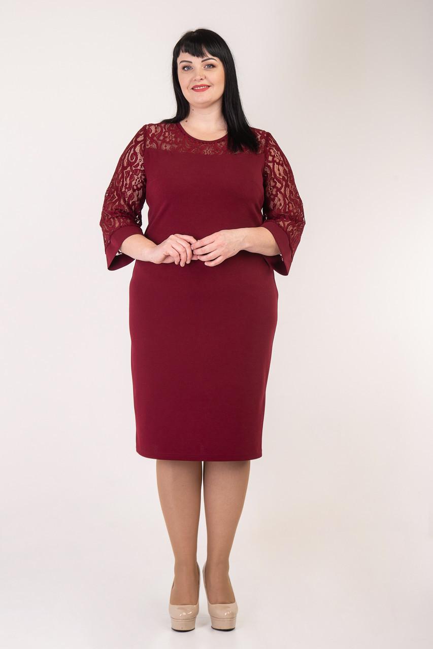 Праздничное платье бордового цвета  52-58 р-р