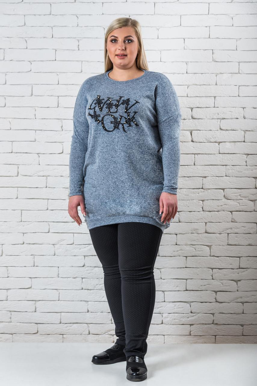 Женская туника 52-58 джинса