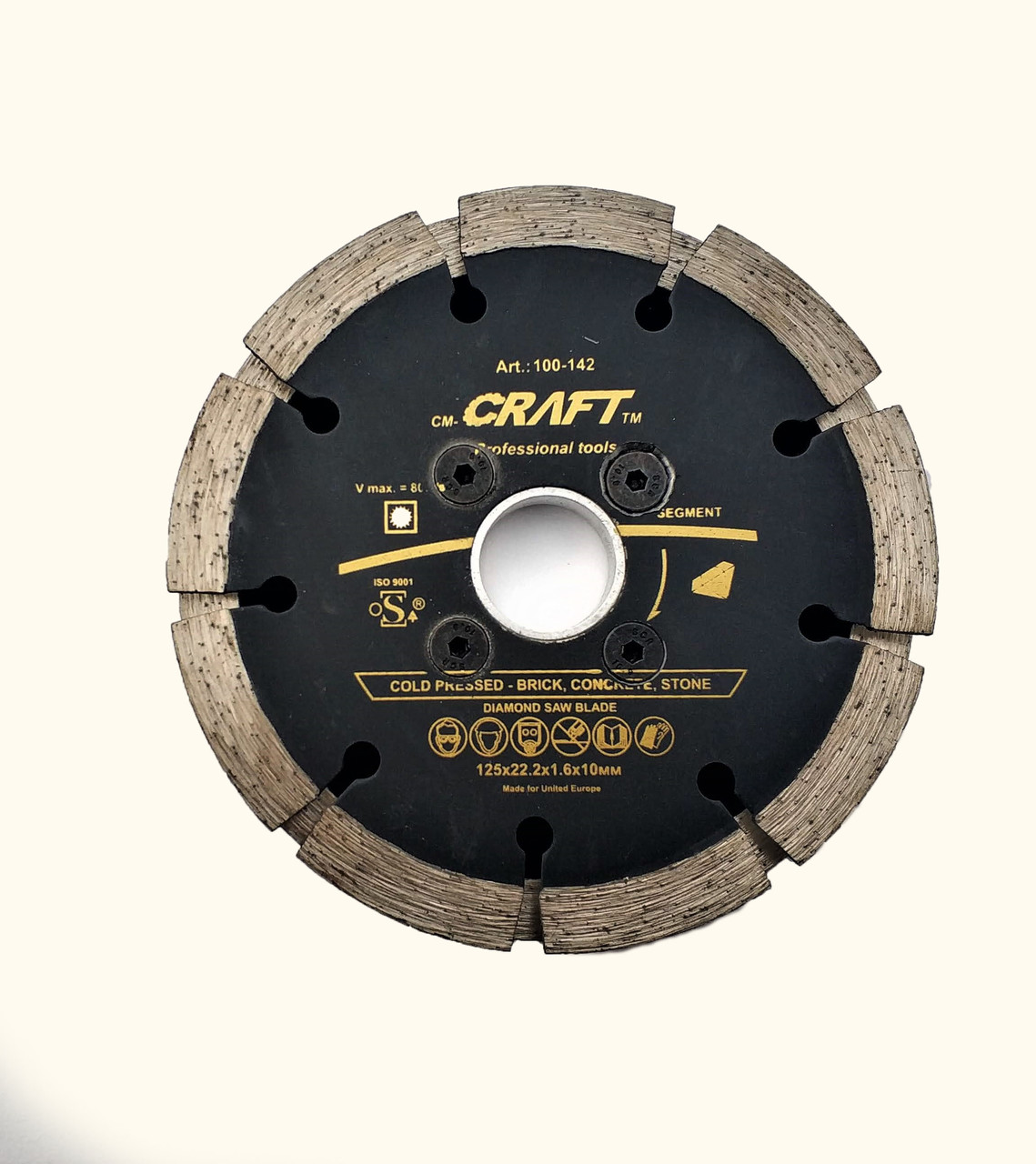 Диск Craft алмазний double segment 125/2*22,.2*1.6*10мм сухе нарізання штроб у цеглі/бетоні