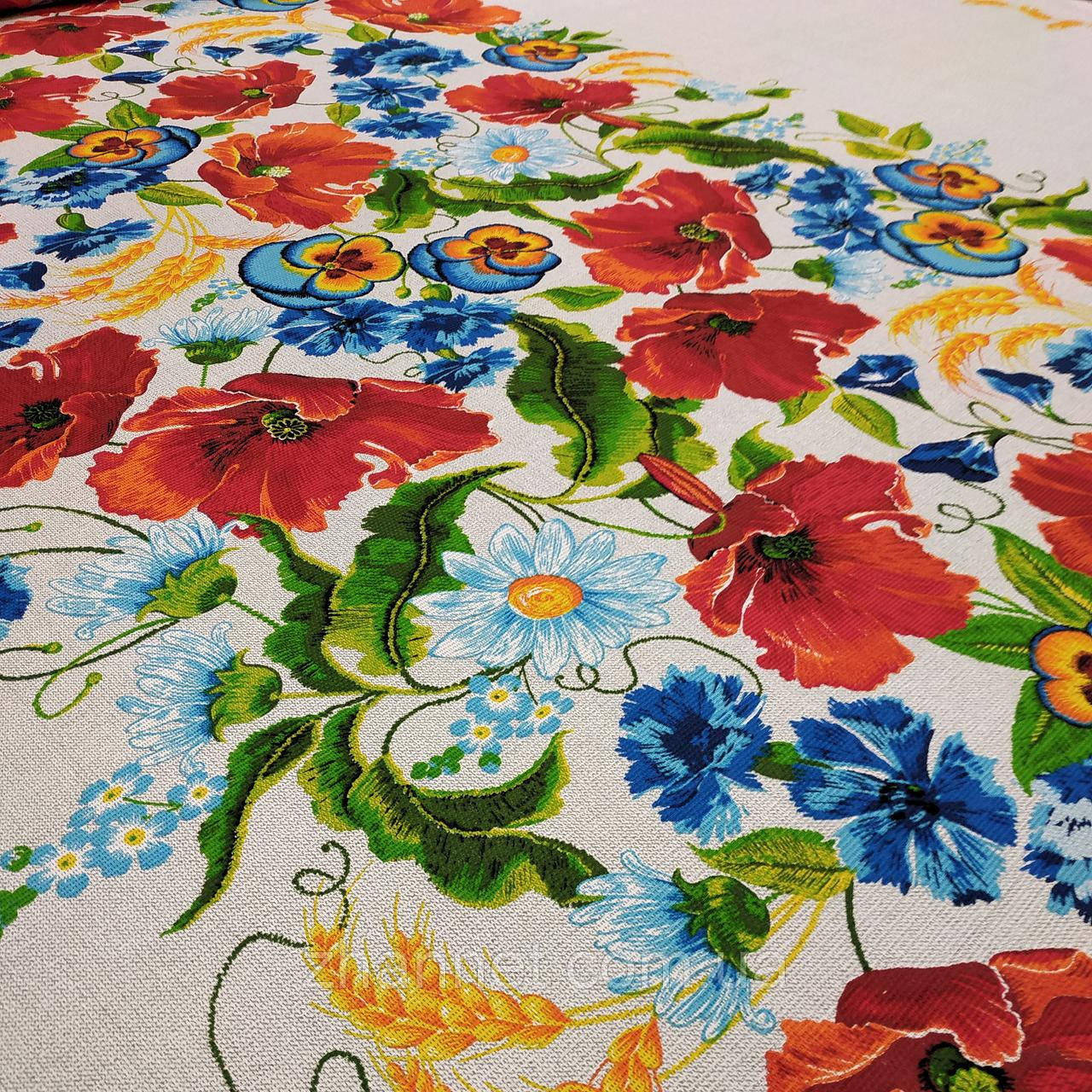Ткань для скатерти рогожка Букет полевых Цветов 150 см (271461)