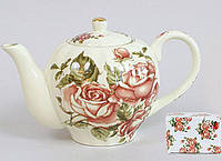 Чайник заварочный Cream Rose Корейская Роза 1000мл, фарфоровый