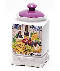 Банка Cheese&Wine 1000мл с крышкой для сыпучих продуктов (psg_BD-DU347-W)