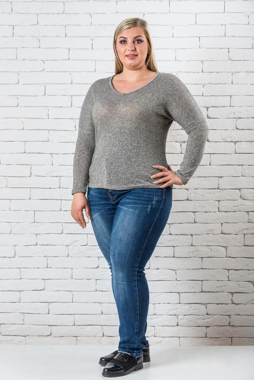 Женский свитер 50-56 серебро