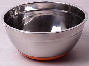 Миска стальная Kamille Labro d 24х11 см с силиконовым дном оранжевая (psg_KM-4349)