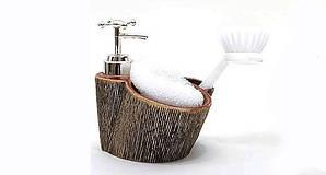 Дозатор Bona-103 для жидкого мыла с губкой и щеткой Коричневый  (psg_BD-853-103)