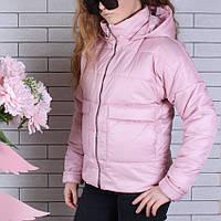 Куртка подростковая демисезонная #750 для девочек 9-10-11-12-13-14 лет (134-164 см). Розовая пудра. Оптом.