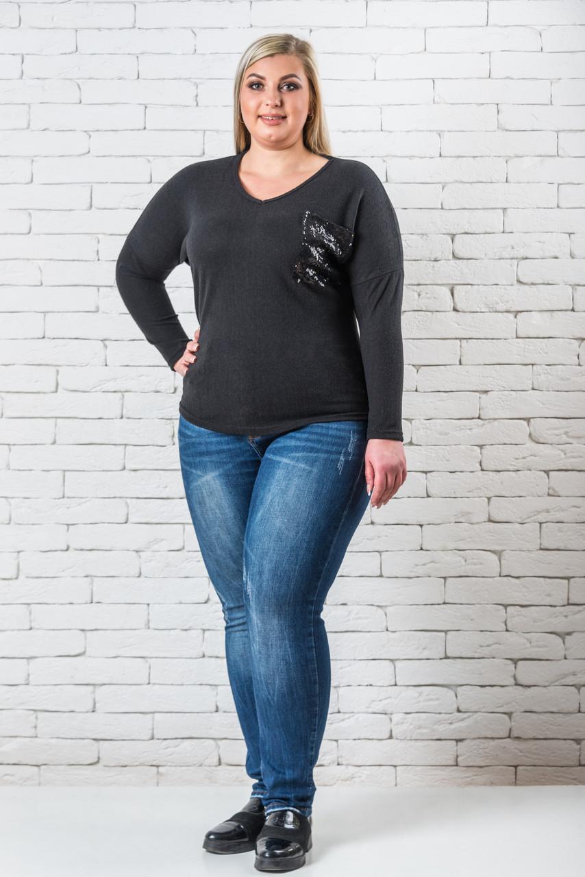 Женский свитер 50-56 черный
