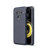 Чехол Auto Focus для LG V50 ThinQ силикон Original Soft Touch темно-синий