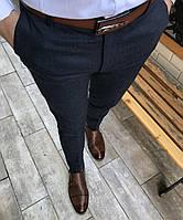 Стильные мужские брюки, темно-синего цвета, зауженные