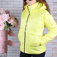 Куртка подростковая демисезонная #750 для девочек 9-10-11-12-13-14 лет (134-164 см). Желтая. Оптом.
