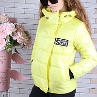 Куртка подростковая демисезонная #45445 для девочек 9-10-11-12-13-14 лет (134-164 см). Желтая. Оптом.