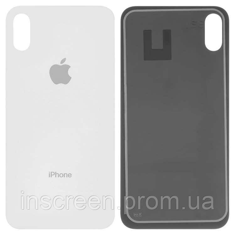 Задня кришка для Apple iPhone X біла, з великим отвором під камеру, Оригінал Китай