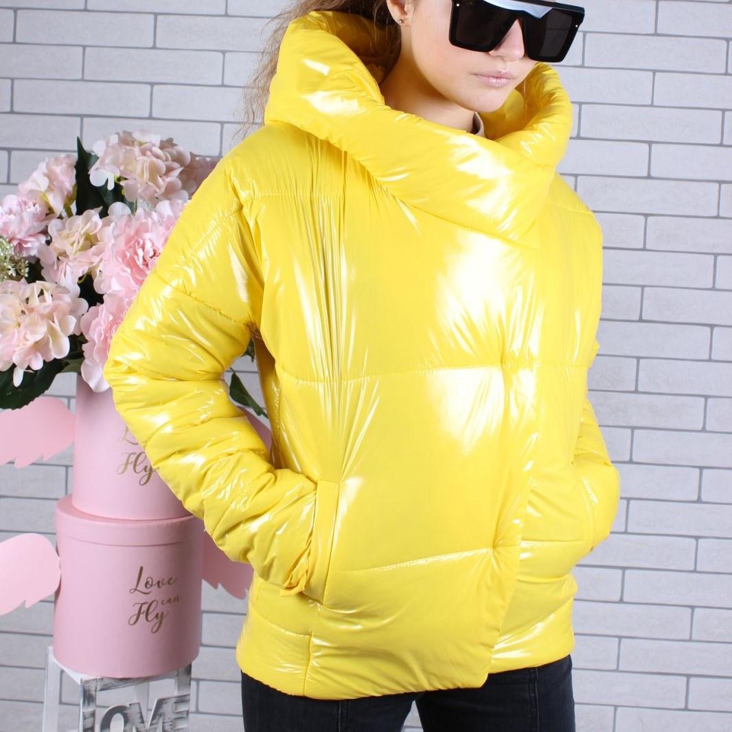 Куртка подростковая демисезонная #754 для девочек 9-10-11-12-13-14 лет (134-164 см). Желтая. Оптом.