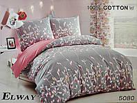 Сатиновое постельное белье полуторное ELWAY 5080 «Цветы»