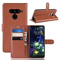 Чехол Luxury для LG V50 ThinQ книжка коричневый