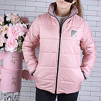 Куртка двухсторонняя! демисезонная #45447 для девочек 9-10-11-12-13-14 лет (134-164 см). Персик и пудра. Оптом