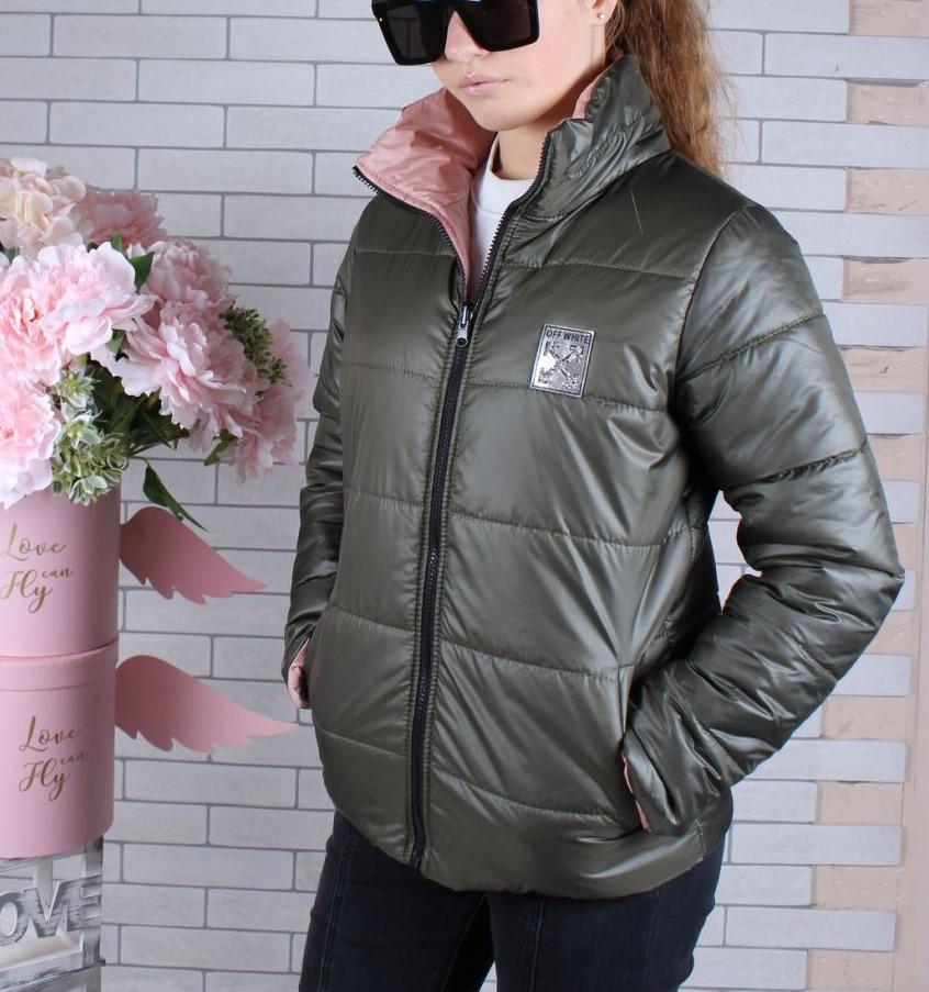 Куртка двухсторонняя! демисезонная #45447 для девочек 9-10-11-12-13-14 лет (134-164 см). Персик и хаки. Оптом