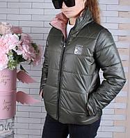Куртка двухсторонняя! демисезонная #45447 для девочек 9-10-11-12-13-14 лет (134-164 см). Персик и хаки. Оптом, фото 1