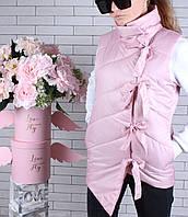 Жилетка подростковая #45444 для девочки 9-10-11-12-13-14 лет (134-164 см). Светло-розовая. Оптом.