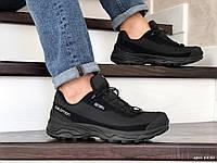 Мужские кроссовки Salomon soft shell (черные) ТЕРМО