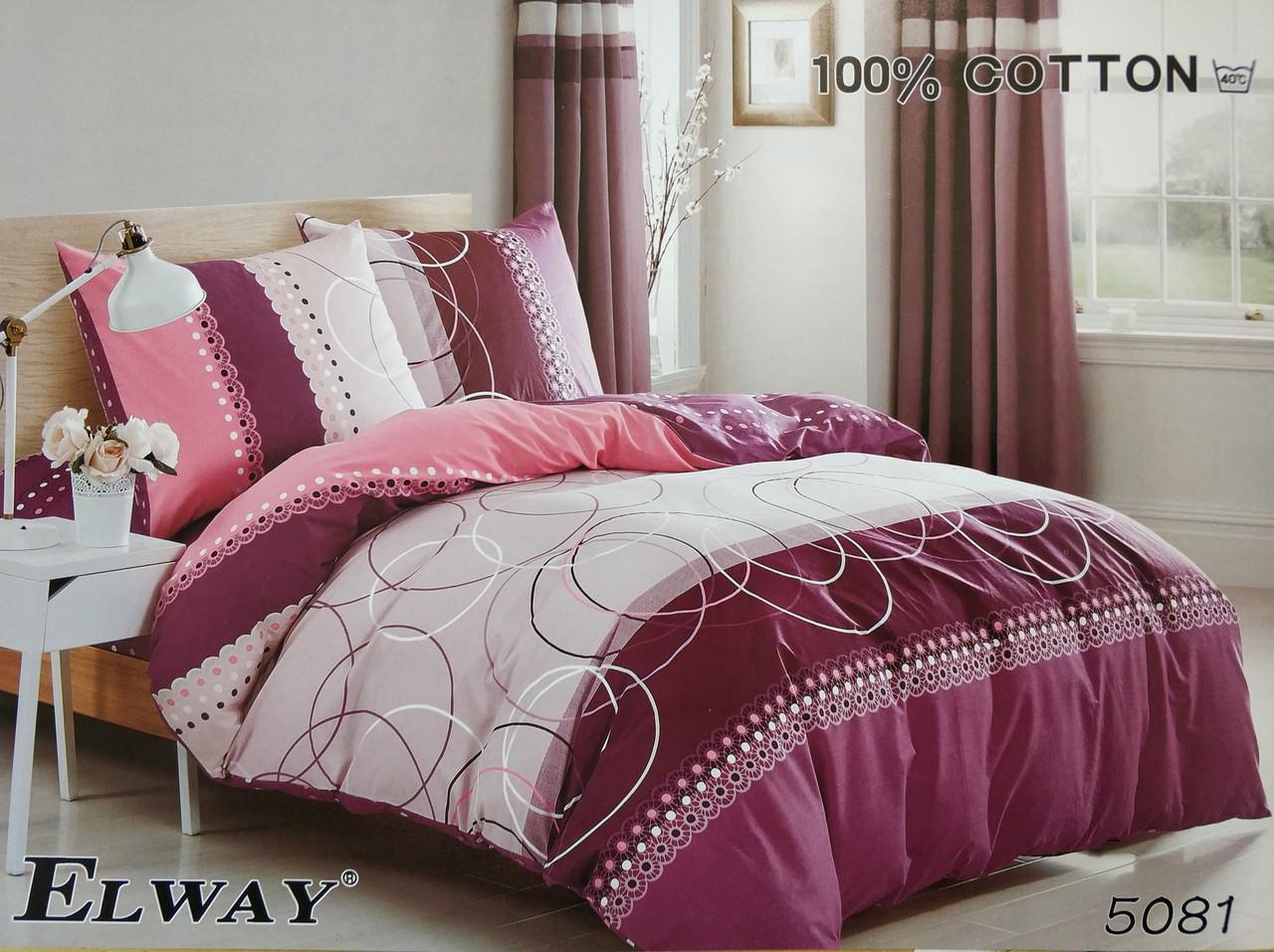 Сатиновое постельное белье полуторное ELWAY 5081 «Геометрические узоры»