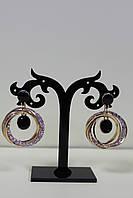 Стильные сережки золотистые круглые кольца с камнями