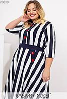 Платье миди кроя трапеция с ювелирным вырезом, рукавами 3/4 втачным поясом по завышенной талии прорезными карманами на потайной молнии сзади Z0828, фото 1