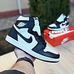 Мужские кроссовки Nike Air Jordan 1 Retro (бело-черные), фото 6