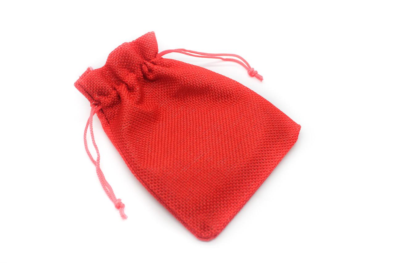 Подарунковий мішечок з текстилю, 13х10см, Колір Червоний