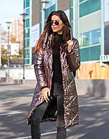 Женская зимняя куртка пальто плащевкаголограмма+250 холлофайбер рукав манжет размер:42,44, 46, ОПТ/ДШ