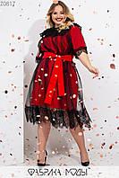 Эффектное платье прямого кроя на подкладе, сетчатый верх с декором из кружева на рукавах и подоле и съемным поясом по талии Z0817, фото 1