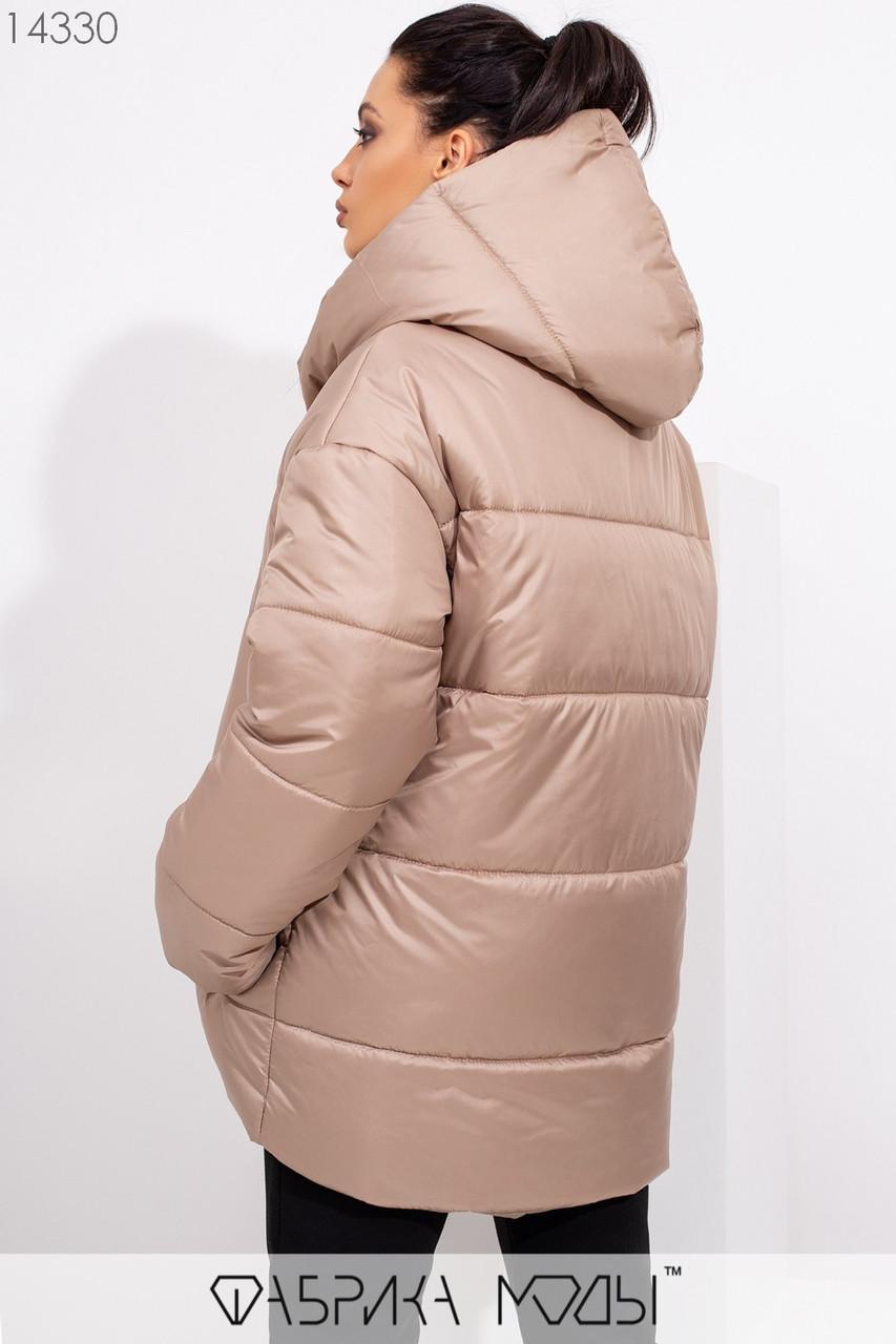Куртка в стиле oversize асимметричного кроя с капюшоном, застежками-кнопками по всей длине и прорезными карманами 14330