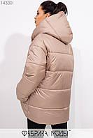 Куртка в стиле oversize асимметричного кроя с капюшоном, застежками-кнопками по всей длине и прорезными карманами 14330, фото 1