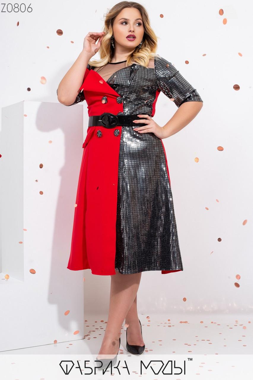 Эффектное платье кроя трапеция с ювелирным вырезом на сетке, комбинации из двух тканей рукавами 3/4 с манжетами, пайетками и лаковым поясом Z0806