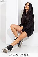 Теплое платье-туника с капюшоном свободного кроя, молнией сбоку манжетами на длинных рукавах и подолу 14306