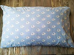 Наволочка слоники на голубом фоне с запахом на детскую подушку  60*40 см,100% хлопок
