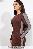 Замшевое платье мини полу приталенного кроя с ювелирным вырезом, конрастными вставками по бокам и манжетом по подолу 14312, фото 1