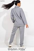 Утепленный костюм: джемпер свободного кроя с воротом и разрезами по бокам, штаны прямые высокой посадки на резинке 14318, фото 1