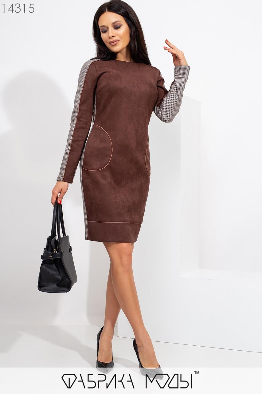 Замшевое платье мини полу приталенного кроя с ювелирным вырезом, конрастными вставками по бокам, манжетом по подолу и карманами 14315