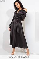 Шелковое вечернее платье миди с имитацией запаха, длинными рукавами с манжетами и съемным широким поясом по талии на резинке 14302, фото 1