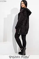 Теплое платье-туника с капюшоном свободного кроя, молнией сбоку манжетами на длинных рукавах и подолу X12384