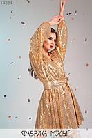Яркое платье мини с глубоким V-образным декольте, длинными широкими рукавами на манжетах и съемным поясом по отрезной талии 14334